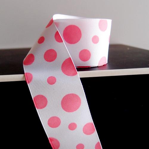 Pink Polka Dot Grosgrain Ribbon