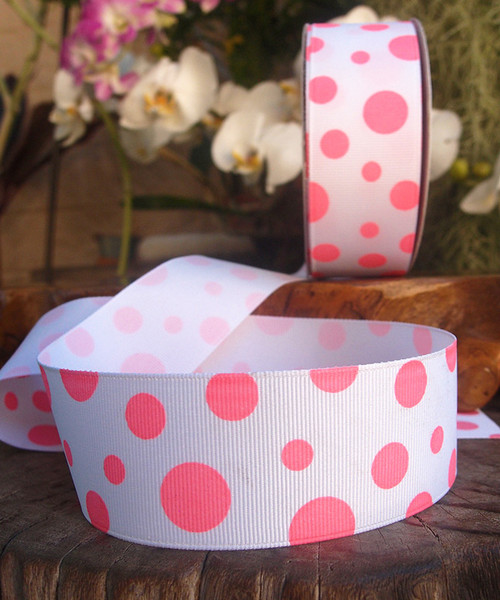 Pink Polka Dot Grosgrain Ribbon
