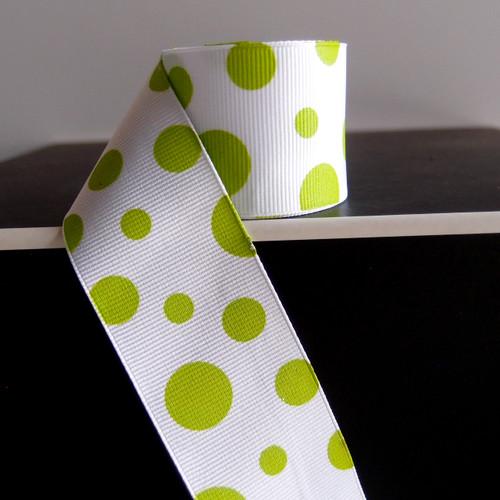 Lime Green Polka Dot Grosgrain Ribbon