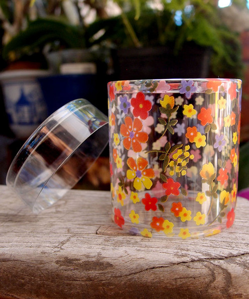 "2""dia. x 2""H Cylinder Box-Yellow/Orange Floral"