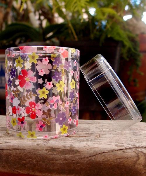 """2""""dia. x 2""""H Cylinder Box-Pink Flora"""
