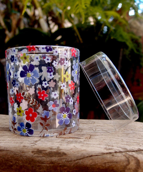 "2""dia. x 2""H Cylinder Box-Purple/Red Floral"