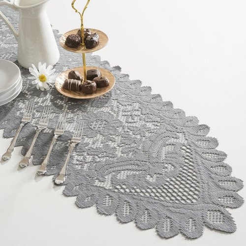 13 x 76 Gray Floral Lace Table Runners LS165-80, Wholesale Lace Table Runners For Weddings and Events | Packaging Decor