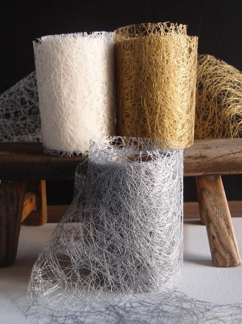 Metallic Silver Faux Sisal Roll 4""