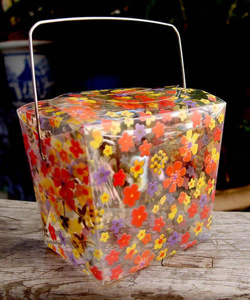 "2 3/4""x2""x2 1/2"" Takeout Box-Yellow/Orange Floral"