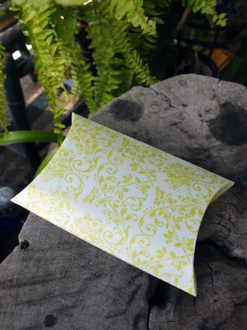 Lime Green Damask Print Pillow Box