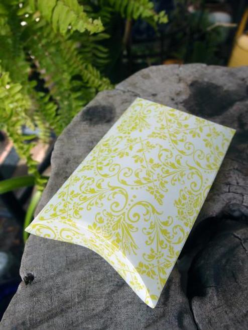 Lime Green Damask Print Pillow Box