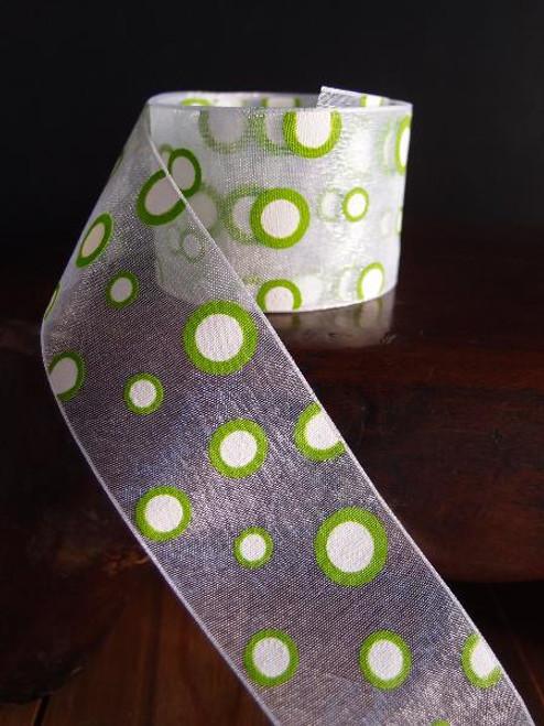 Lime Polka Dot Sheer Ribbon