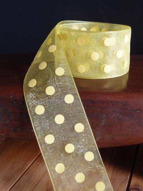 Yellow Sheer Ribbon with Yellow Dots