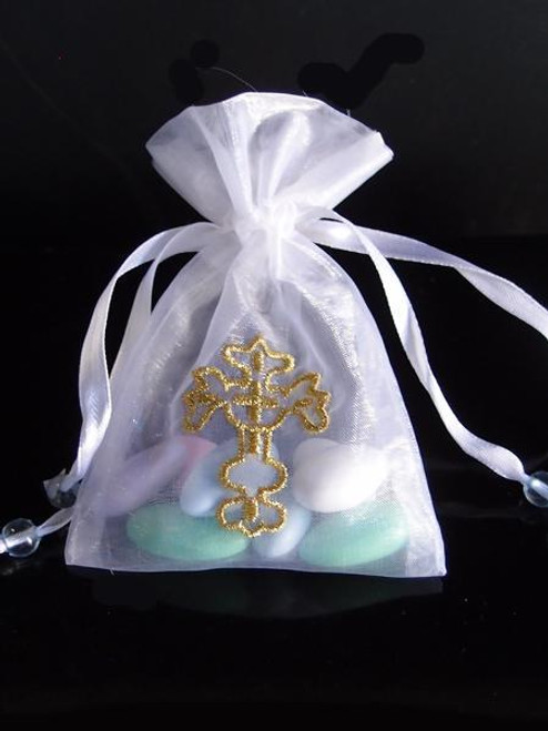 White Bag with Gold Cross. Available in 2 sizes. B084-01, B085-01 | Packaging Decor