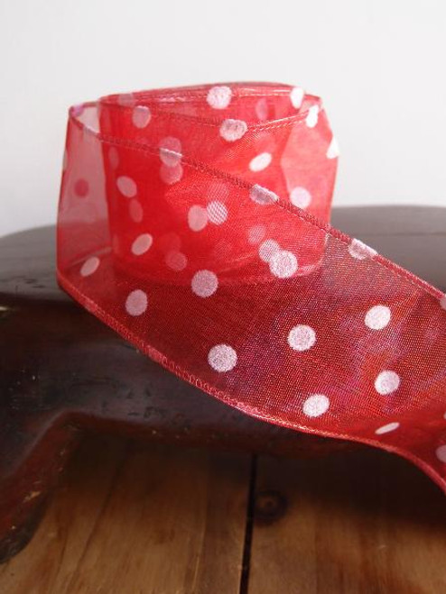 Red Sheer Ribbon with Fuzzy White Dots Wired