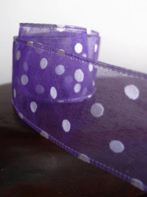 Purple Sheer Ribbon with Fuzzy White Dots Wired