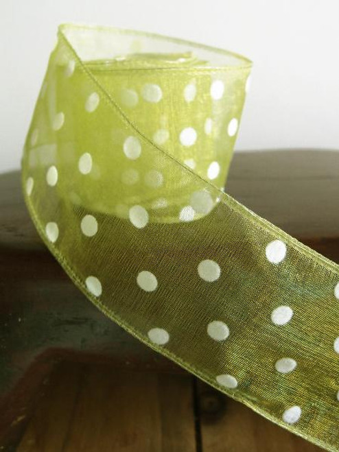 Mint Sheer Ribbon with Fuzzy White Dots Wired