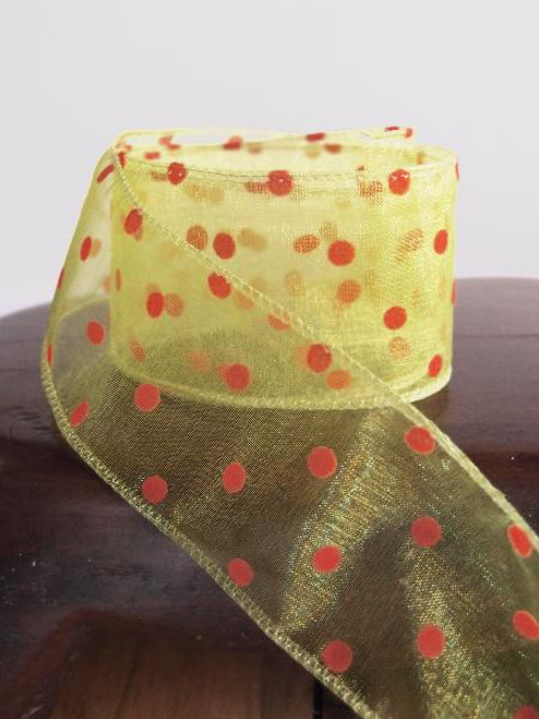 Yellow Sheer Ribbon with Fuzzy Orange Dots Wired