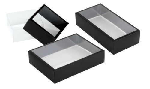 PET Truffle Box with Frosted Black Cover (3 sizes)