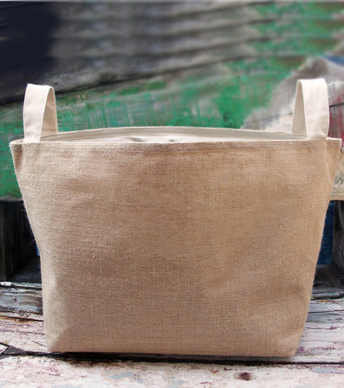 "Burlap Storage Basket with Natural Cotton Lining 13"" x 11"" x 8 1/4"""