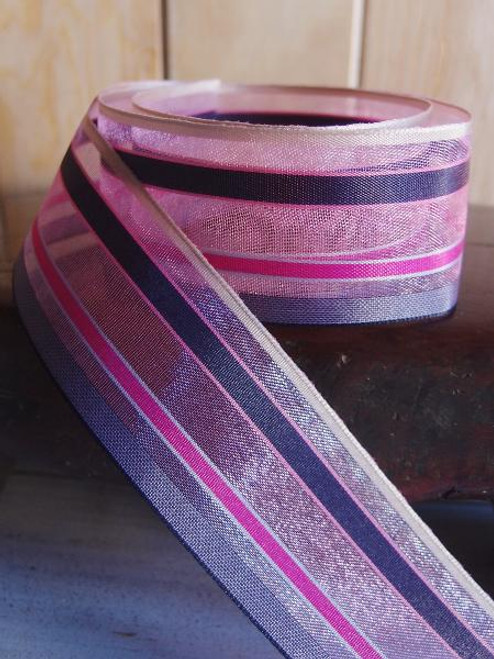 Navy-Pink-Blue Multi-Stripes Sheer Ribbon