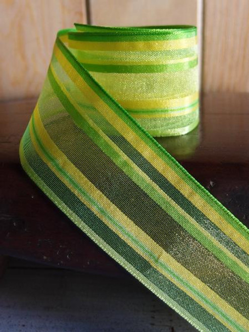 Lime Green-Yellow-Moss Multi-Stripes Sheer Ribbon