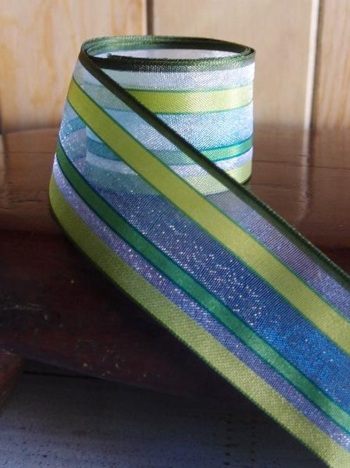 Yellow-Blue-Green Multi-Stripes Sheer Ribbon