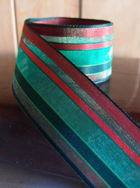 Green-Red-Burgundy Multi-Stripes Sheer Ribbon