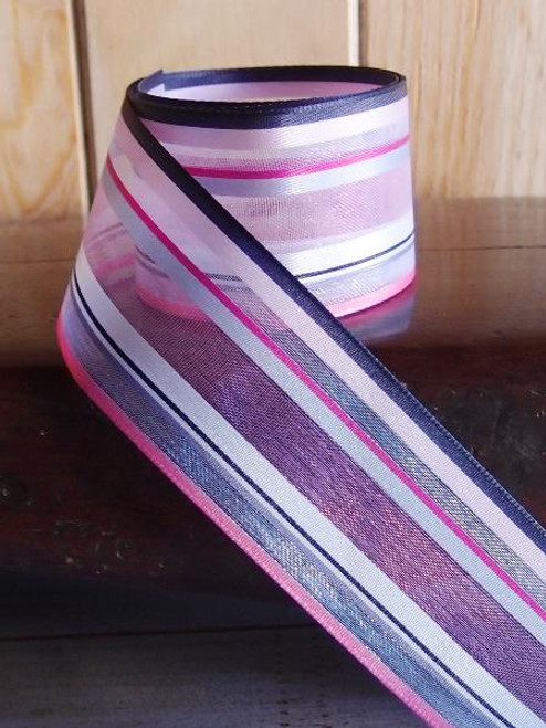 Pink-Hot Pink-Navy-White Multi-Stripes Sheer Ribbon