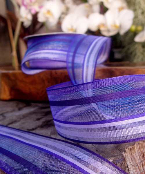 Purple-Lavender Multi-Stripes Sheer Ribbon