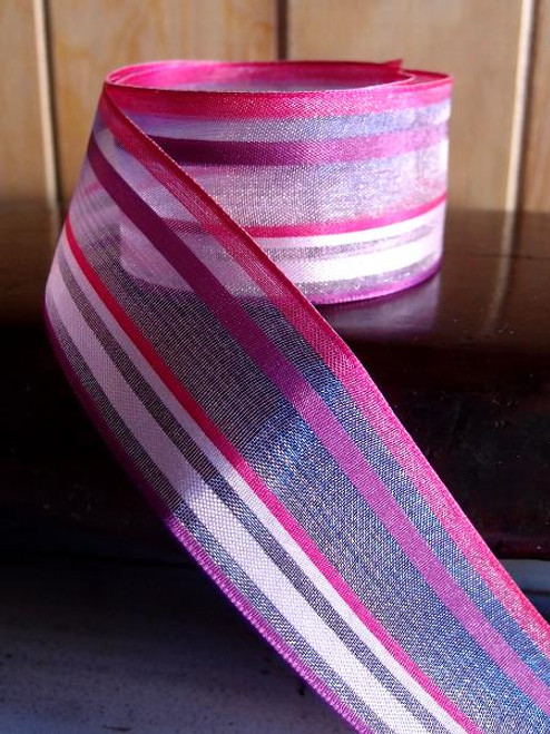 Pink-Hot Pink Multi-Stripes Sheer Ribbon