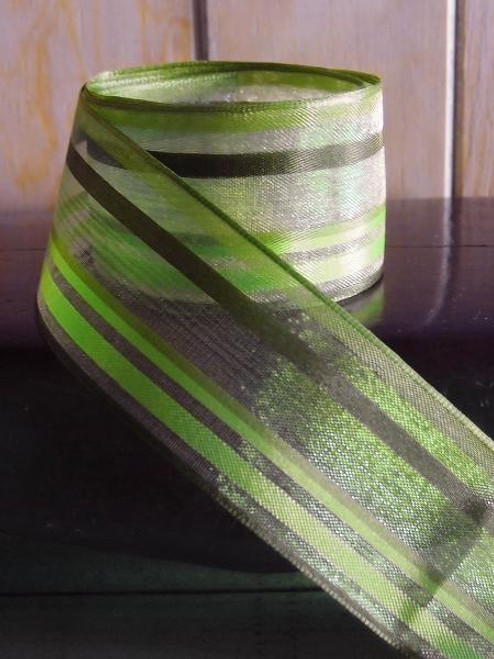 Green-Mint-Moss Multi-Stripes Sheer Ribbon