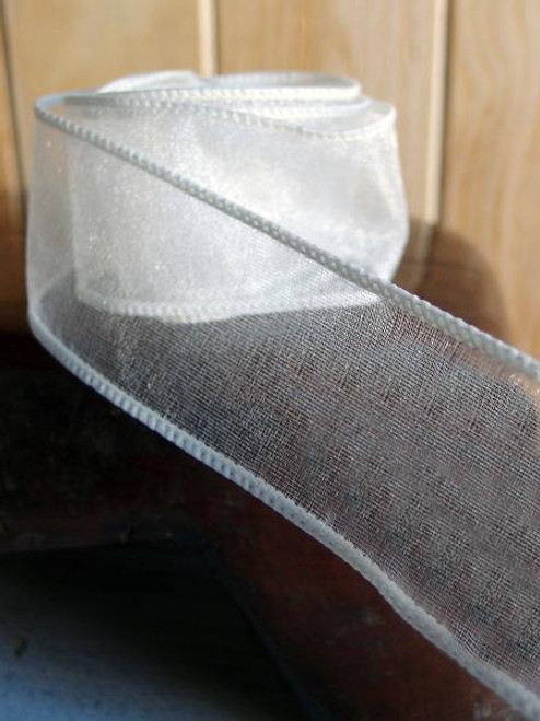 Ivory Two-Toned Organza Wire Ribbon (2 sizes)