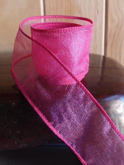 Hot Pink Two-Toned Organza Wire Ribbon (2 sizes)