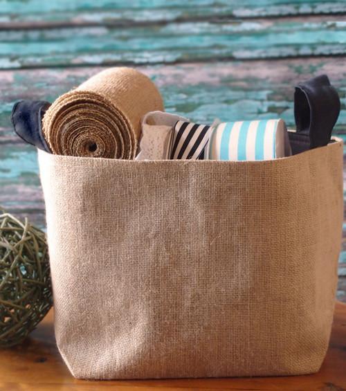Burlap Storage Basket with Black Cotton Lining 9x9