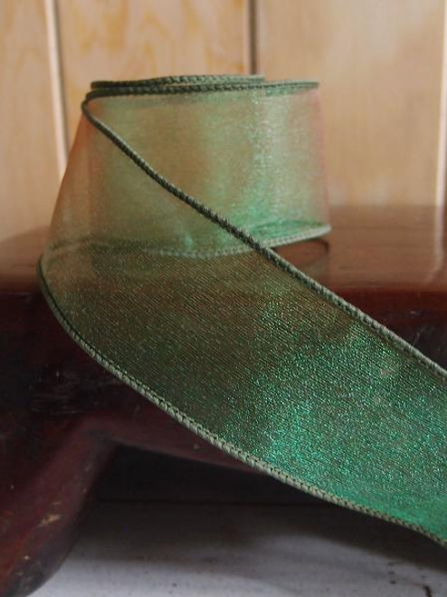 Hunter Green Two-Toned Organza Wire Ribbon (2 sizes)