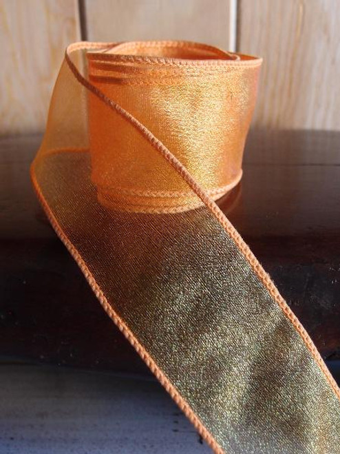 Orange Two-Toned Organza Wire Ribbon (2 sizes)