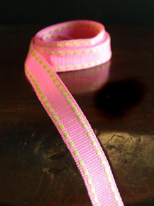 Hot Pink with Lime Saddle Stitch Grosgrain Ribbon