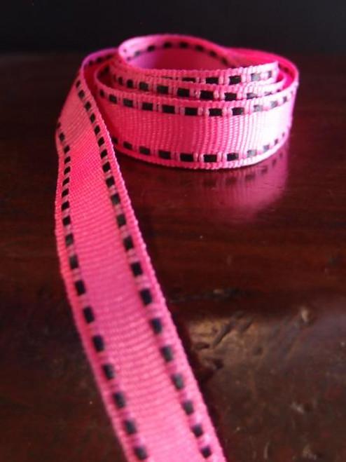 Shocking Pink with Black Saddle Stitch Grosgrain Ribbon