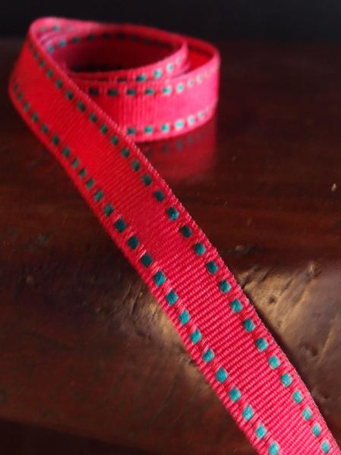 Red with Green Saddle Stitch Grosgrain Ribbon