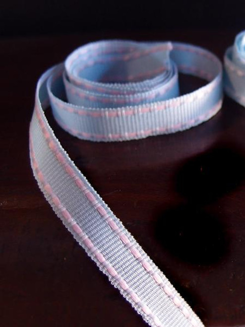 Light Blue with Pink Saddle Stitch Grosgrain Ribbon