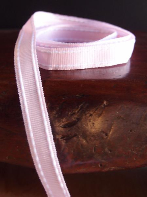 Pink with White Saddle Stitch Grosgrain Ribbon