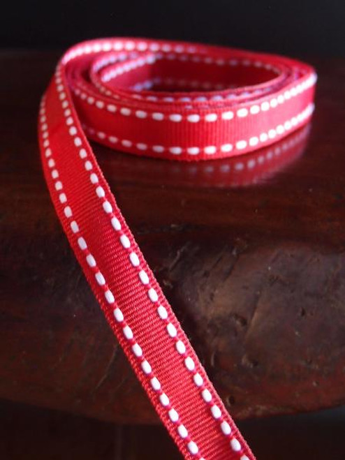 Red with White Saddle Stitch Grosgrain Ribbon
