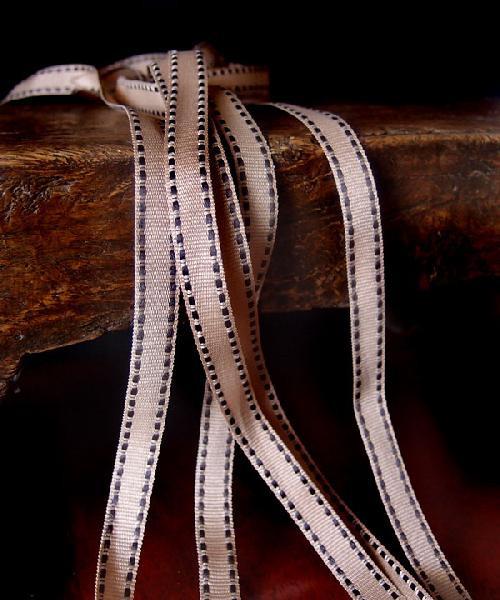 Khaki with Chocolate Saddle Stitch Grosgrain Ribbon