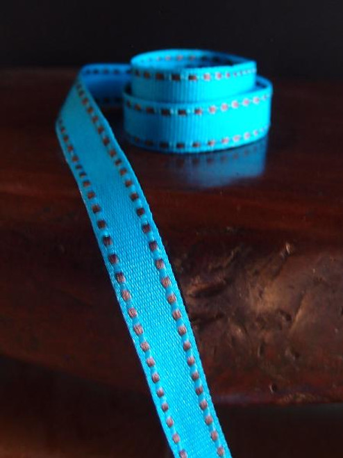 Turquoise with Chocolate Saddle Stitch Grosgrain Ribbon, Wholesale Ribbon and Trim | Packaging Decor Ribbon
