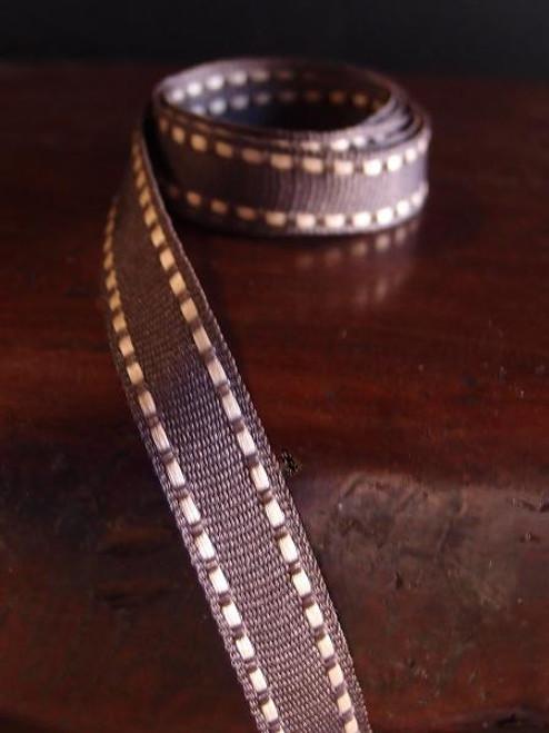 Chocolate with Khaki Saddle Stitch Grosgrain Ribbon, Wholesale Grosgrain Ribbon, Saddle Stitch Grosgrain Ribbon, Dashed Ribbon | Packaging Decor