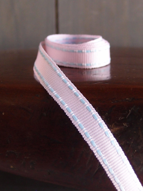 Pink with Khaki Saddle Stitch Grosgrain Ribbon, Wholesale Grosgrain Ribbon | Packaging Decor