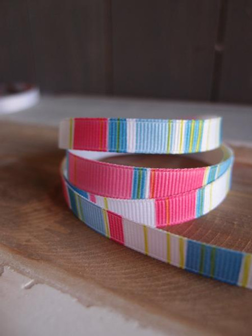 Pink-Lime-Blue-White Vertical Stripes Grosgrain Ribbon