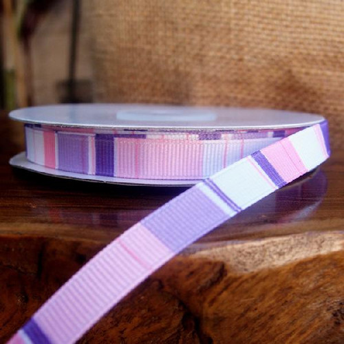 Purple-Pink- White Vertical Stripes Grosgrain Ribbon