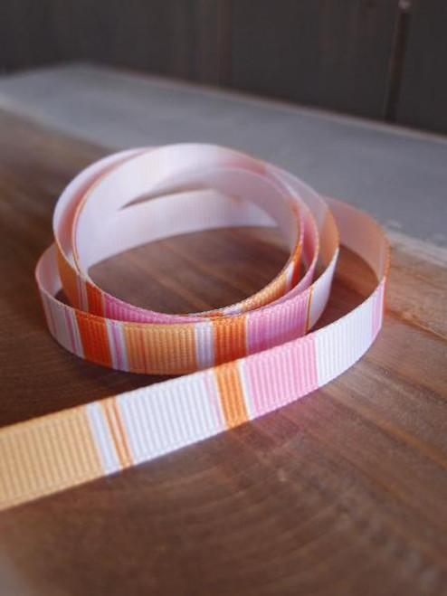 Pink-Orange-White Vertical Stripes Grosgrain Ribbon