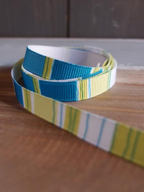 Lime-Teal-White Vertical Stripes Grosgrain Ribbon