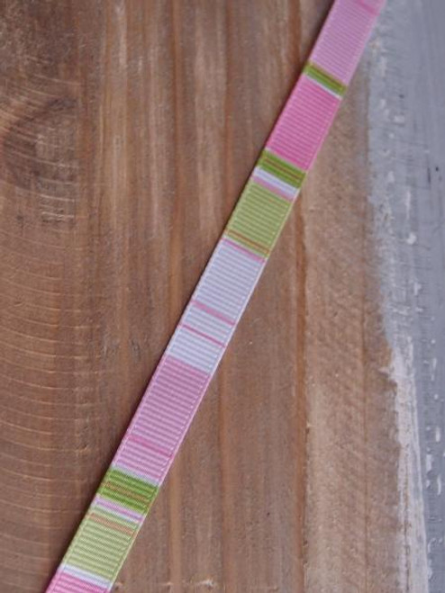 Pink-Lime-White Vertical Stripes Grosgrain Ribbon