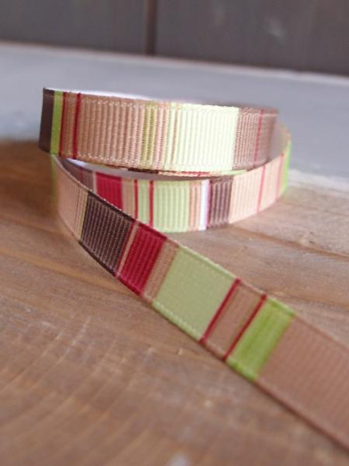 Tan-Burgundy-Lime-Brown Vertical Stripes Grosgrain Ribbon