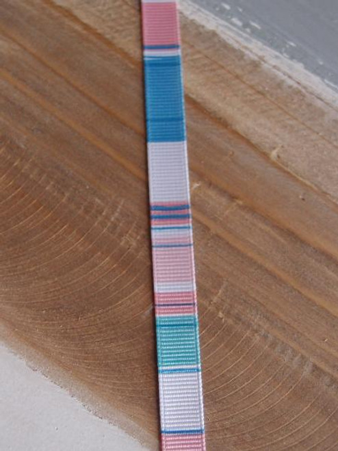 Pink-White-Light Blue Vertical Stripes Grosgrain Ribbon